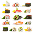 Sushi pieces collection isolated on