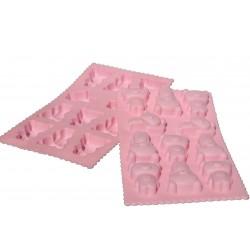 Teddy Pralinenform Silikon Backform Eiswürfelform rosa ca. 21,5cm x 12cm x 1,8cm /11 Teddybären