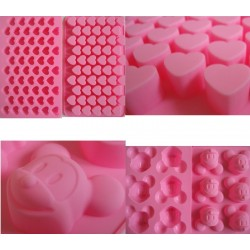 Maus Pralinenform Silikon Backform  rosa ca. 20,7cm x 14,8cm x3,1cm /6 Mäuse Eiswürfelform