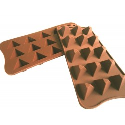 Pyramide Pralinenform Backform (21x10,5x2,3 cm) Eiswürfelform 100% Silikon für 15 Pralinen