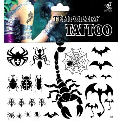 Spinnen Skorpion Käfer Tattoo 1 Bogen Fake Tattoo (15,5cm x 10,5cm )- einmal tatoos temporary