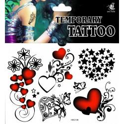 HerzTattoos 1 Bogen Fake Tattoo (15,5cm x 10,5cm ) - einmal tatoos temporary