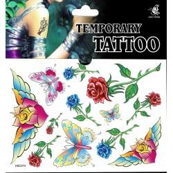 Rosen und Schmetterling Tattoos 1 Bogen Fake Tattoo (15,5cm x 10,5cm ) - einmal tatoos temporary