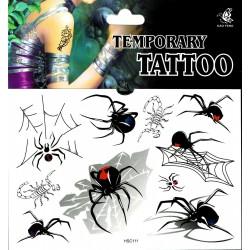 Spinnen Tattoos 1 Bogen Fake Tattoo (15,5cm x 10,5cm ) - einmal tatoos temporary