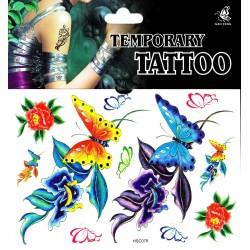 buntes Schmetterling Tattoos 1 Bogen Fake Tattoo (15,5cm x 11cm ) - einmal tatoos temporary