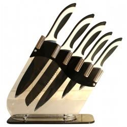 6 tlg. Design Messerset + Acryl-Messerblock, scharfe Messerklingen aus rostfreiem Edelstahl