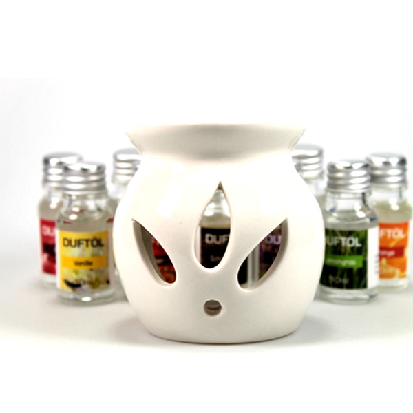 Keramik Duftlampe (Ø ca. 7cm/H:8cm) Set 11tlg. Aromalampe inkl. 10 Aromaöle a´10ml - Teelichtlampe Raumduft
