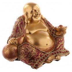 Buddha Figur Gold (H9xB12xT9cm) mit Stoff -  großer budda aus Polyresin in gold/rot