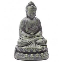 Buddha Figur statue buddafigur feng shui buddhismus thai budda grün bronzeoptik