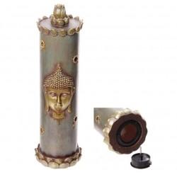 Räucherstäbchenhalter Buddha Röhre (H: 32,5cm/Ø9 cm) asiatische Schriftrolle gold/bläulich