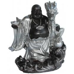 Buddha Figur (10,5x8,5x6,5 cm) stehend mit Drachen dunkelbraun/silber aus Polyresin - dekorativ