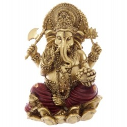 Ganesha Statue (16x10x8cm) aus Polyresin gold/rot Hinduismus  indien