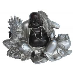 Buddha Figur (7,6x10,5x7 cm) sitzend mit Drachen dunkelbraun/silber aus Polyresin - sehr dekorativ