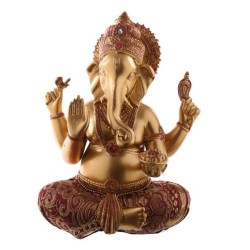Ganesha Statue (17x13x10cm) aus Polyresin gold/rot mit Stoffapplikation