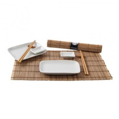 Sushi Service Set 12 tlg. braun/weiß Japan Style 2 Personen sushi geschirr NEU