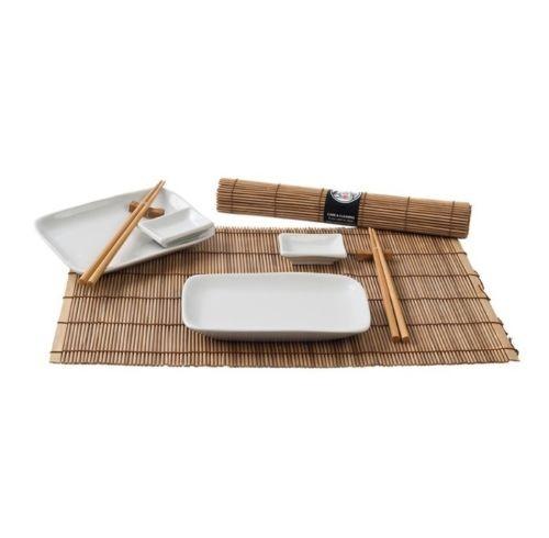 Keramik Sushi Service Set 12 tlg. braun/weiß Japan Style 2 Personen sushi geschirr NEU