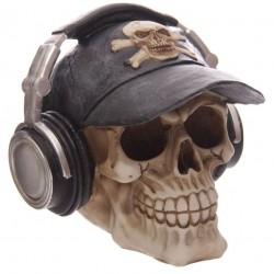 Totenkopf Spardose (14x15x15) aus Polyresin - mit Kopfhörer Skull Totenschädel