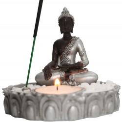 Räucherstäbchenhalter Buddha (H10 cm/Ø 10,5 cm) aus Polyresin mit Teelicht + Dekosteinen buddafigur