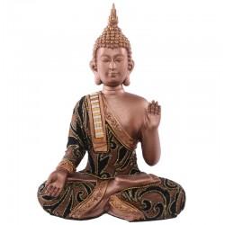 Thai Buddha (23x16x9cm) - aufwendig verarbeitet Statue budda Figur Glitzereffekt echtstoff