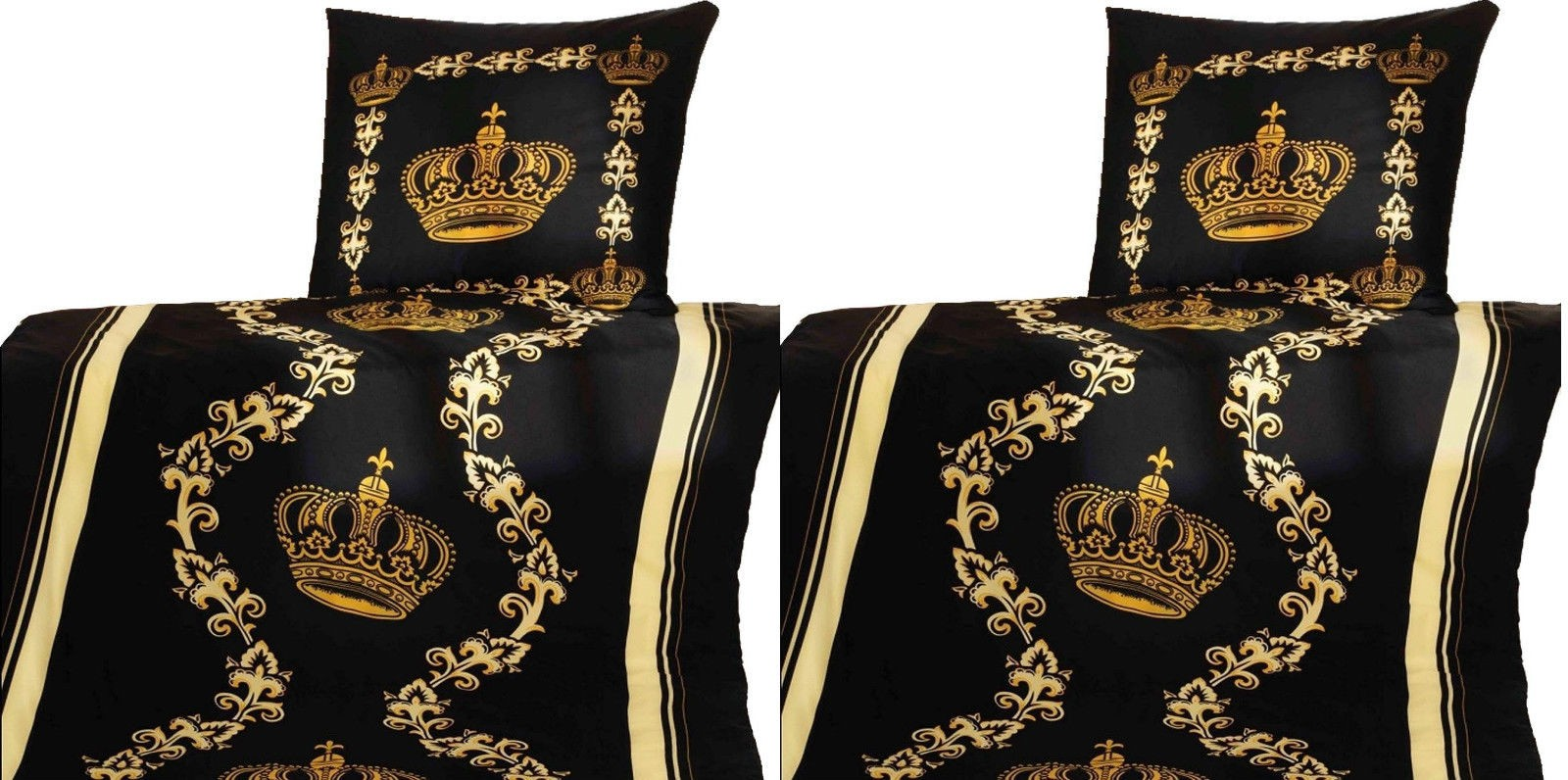 2x Bettwäschegarnituren 2tlg. Microfaser Gold Kronen-DesignTop-Qualität Bettbezug 135x200 cm/Kissen 80x80 cm
