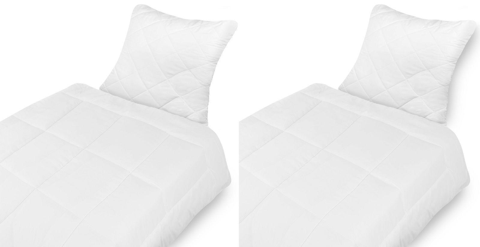 2x Qualitäts Microfaser Bettenset Kopfkissen (80x80 cm) + Bettdecke (135x200cm) Wohlfühlset waschbar