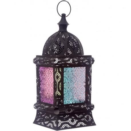 laterne marokkanisches design 38x16x16cm schwarz metall glas windlicht kerzenhalter innen. Black Bedroom Furniture Sets. Home Design Ideas