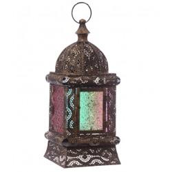Laterne marokkanisches Design (38x16x16cm) gold metall glas windlicht kerzenhalter innen/außen gartenlaterne