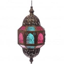 orientalische Laterne (44x21x21cm) gold metall glas windlicht kerzenhalter innen/außen gartenlaterne marokkanische hängelaterne