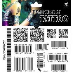Strichcode Tattoo 1 Bogen (15,5cm x 10,5cm) Fake Tattoo einmal tatoos temporary EAN Code QR