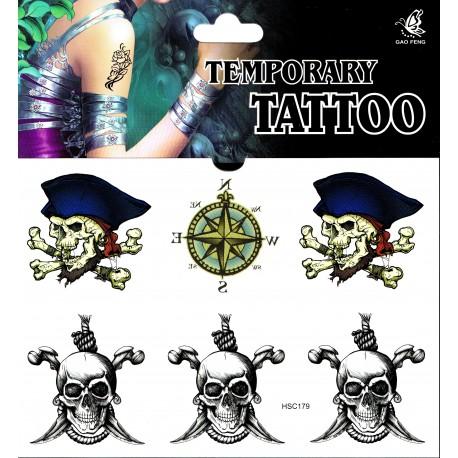Skull Totenkopf Piraten Tattoo 1 Bogen Fake Tattoo (15,5cm x 10,5cm )- einmal tatoos temporary