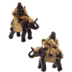 Buddha auf Elefant,  Buddafigur feng shui buddhismus 2 varianten aus Polyresin