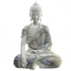 Thai Buddha Figur (??x??x?? cm)  weiß mit Stoffapplikation, Buddha Statue, Feng Shui fürs Zuhause