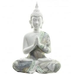 Betende Thai Buddha Figur weiß mit Stoffapplikation, Buddha Statue, Feng Shui fürs Zuhause