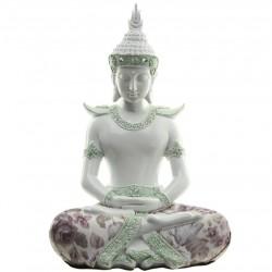 Thai Buddha Figur - Geste der Versenkung -   weiß mit Stoffaplikation, aus Polyresin