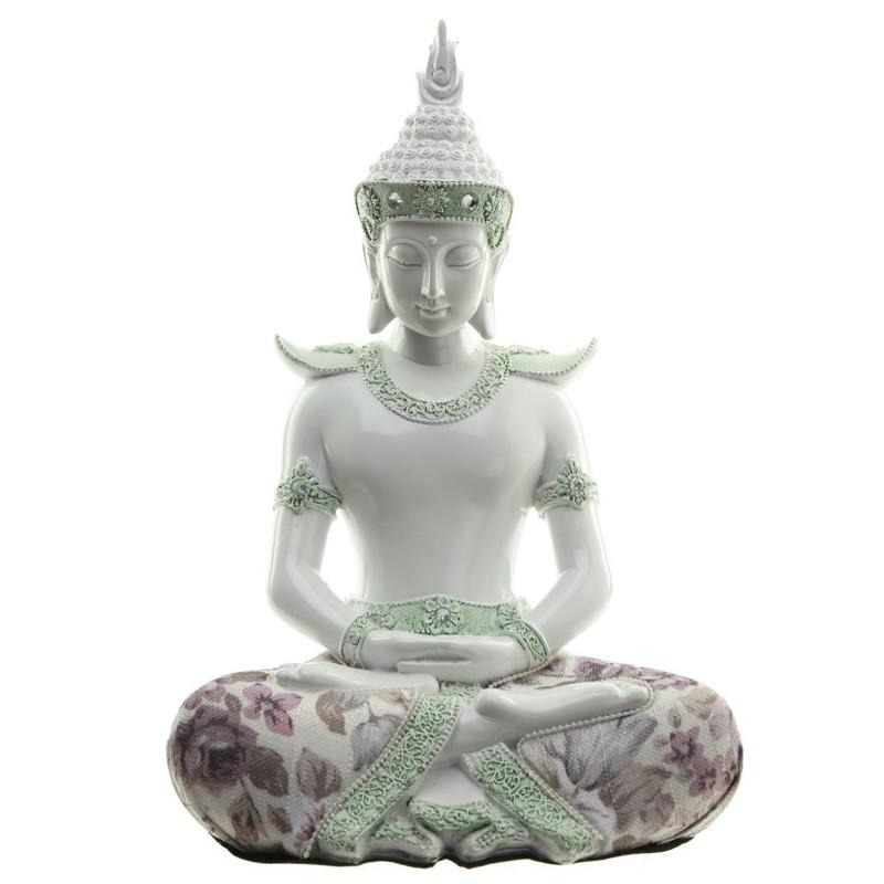 thai buddha figur dhyana mudra 26x18x12 cm wei mit stoffaplikation meditationsgeste. Black Bedroom Furniture Sets. Home Design Ideas