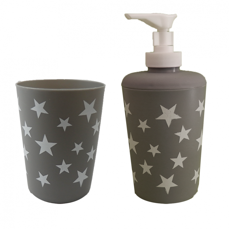 schönes 4 teiliges badzimmerset star - seifenspender + klobürste +, Badezimmer ideen