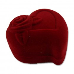 Rotes Herz mit Rose Schmuckverpackung (ca. L 5,8cm x B 6,0cm x H 3,5cm)  Schmuckschachtel, Schmuckdose mit Samtüberzug