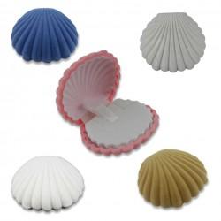 Muschel Schmuckverpackung in 5 Farben  (ca. L 5,3cm x B 6,0cm x H 2,8cm)  Schmuckschachtel, Schmuckdose mit Samtüberzug