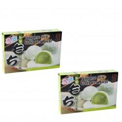 2x japanischer Reiskuchen Grün Tee Mochi Spezialität Nachtisch Dessert Gebäck