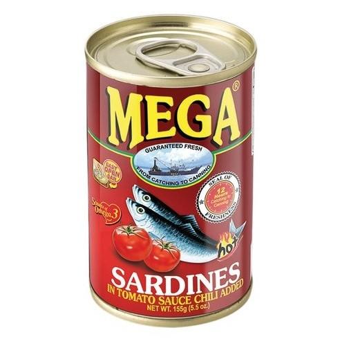 Sardinen in Tomatensauce mit Chili Scharf / Hot 155g MEGA Philippinen