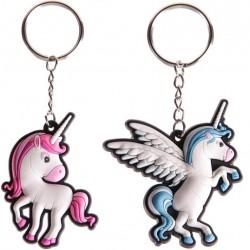 Schlüsselanhänger Einhorn Glücksbringer Unicorn Soft-PVC rot / blau - sehr süß