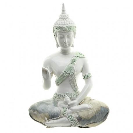 Thai Buddha Figur weiß mit Stoffapplikation Vitarka Mudra - Rad der Lehre Geste