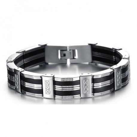 Herren Armband Edelstahl & Silikon MoZo Designer herrenarmband armreif edel