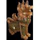 Tempellöwe Holz Gold handgefertigte Rarität Thai Kunst Skulptur Wächterlöwe Buddha Beschützer