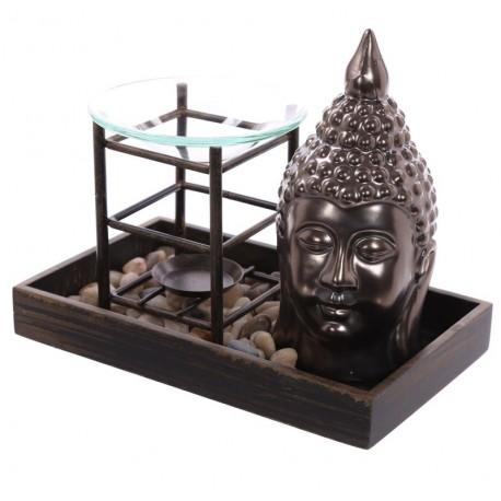 Buddha Duftlampe + 1 Duftöl / Figur Statue buddafigur feng shui buddhismus budda