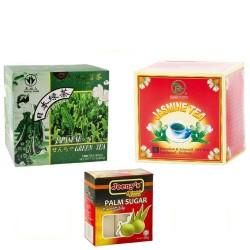 3tlg. Asia Tee Set Probierset 1x Grüner Tee +1x Jasmin Tee + 1x Palmzucker