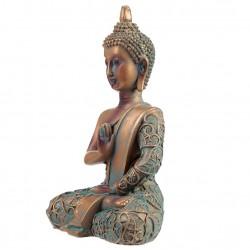 Buddha Figur thai budda Mudras HandGeste Erleuchtung Feng Shui Kupfer-Optik 15cm