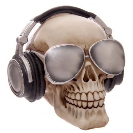 Spardose Skull (14x15x15) Totenkopf mit Kopfhörer Sonnenbrille Skull Totenschädel
