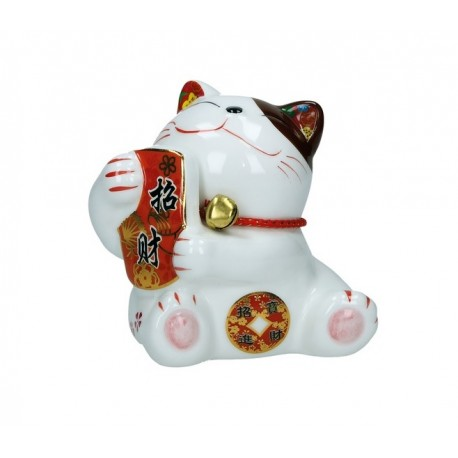 Plutus Katze Spardose Porzellan Winkekatze 10cm Maneki Neko Feng Shui mit Glöckchen