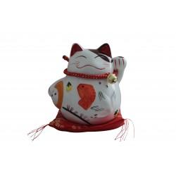 Plutus Katze Spardose Porzellan Winkekatze auf Seidenkissen 16cm Feng Shui